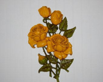 Rare Vintage Syroco Wall Hanging 1962 Yellow Roses Wall Plaque Wall Decor Retro On SALE