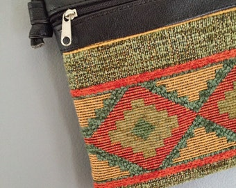 Beautiful & Unique Vintage Aztec Carpet Crossbody Bag