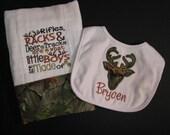 Camo burp cloth and bib; hunting burp cloth and bib; boy burp cloth and bib