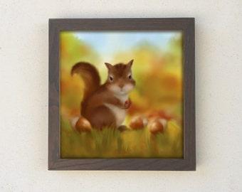 Framed Squirrel Print, Baby Nursery Art, Kids Wall Art