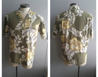 Vintage Clothing, Hawaiian Shirt, Khakie Green Floral Shirt, Hawaii Five-O, Royal Creations Vintage Shirt, 100% Linen Adult Size L