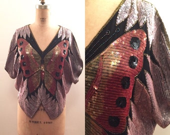 Pretty Pink 1980s sequin butterfly top