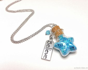 Blue Fairy Dust Necklace, Blue Star Necklace, Pixie Dust Glitter Vial, Girls Jewelry, Fairy Party
