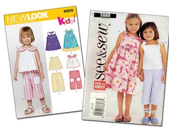 Set of Two Little Girl Summer Patterns  New Look 6906 (1/2, 1, 2,3,4) and See & Sew 3889 (2,3,4,5) (<- has been cut on size 5)