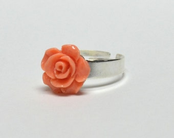 Small Peach Rose Ring - Spring Jewelry - Resin Flower Jewelry - Silver Ring