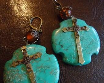 Boho Chic Cross My Turquoise Heart Drop Earrings
