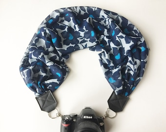 Scarf Camera Strap - dslr camera strap - camera neck strap - blue floral strap
