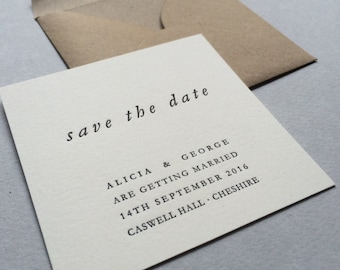50 x Small Letterpress Save the Date Cards - Alicia