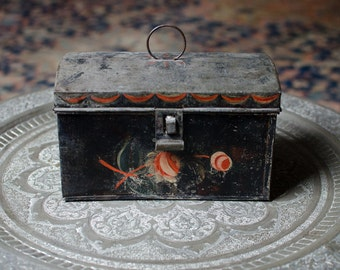 Antique Tole / Toleware Tin Deed Document Cash Box Lock Box w/ Hand Painted Flowers - 1800's
