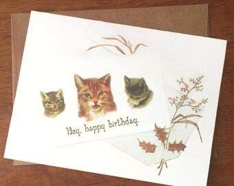 Hey Happy Birthday Cat Card; Funny Vintage Cat Card; Ironic Cat Card; Funny Birthday Card; Cats Talking; Victorian Cats; Chill Birthday