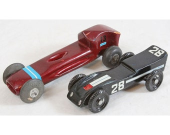 Lot (2) Vintage Boy Scouts Pinewood Derby Race Car Ford G.T. Veco Goodyear Tires