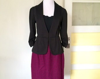 Vintage 1980s Valentino Houndstooth Pencil Skirt - Pink and Black