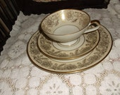Lower Price Beautiful Vintage Teacup Saucer & Salad Plate Gold Flowers Johann Haviland Bavaria