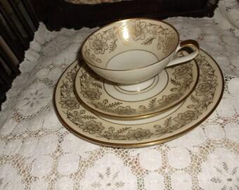 Lower Price Beautiful Vintage Teacup Saucer & Salad Plate Gold Flowers Johann Haviland Bavaria