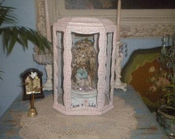 Re purposed Vintage Metal Chandelier Casing, Display, Shabby Chic, Girl's Room