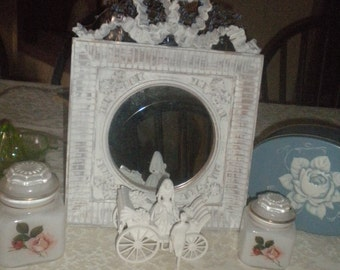 Beautiful Up cycled Ornate Round Mirror, Shabby Chic, Baby'sRoom