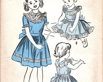 1940s Sewing Pattern Advance 5353 Holiday Garden Party Frilly Tea Dress Full Skirt Girls Size 6