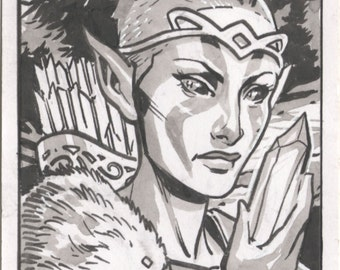 Skyrim Wood Elf Sketch Card