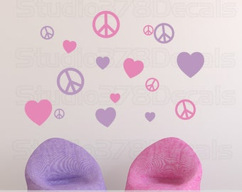 Peace Signs and Hearts Vinyl Wall Decals - Childrens Decor - Nursery Wall Decals - Girls Room Decor - Teen Wall Art - 16pk