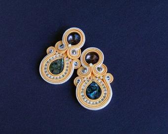 soutache earrings, pastels earrings, gift for woman, embroidery earrings, paua shell earrings, dangle earrings, gift for girl, mother's day