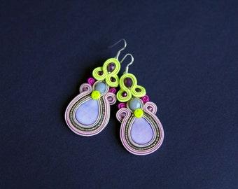 soutache earrings, violet earrings, gift for woman, embroidery earrings, lemon earrings, dangle earrings, gift for girl, mother's day