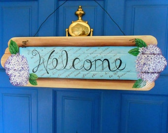 Welcome Sign, Floral Sign, Hand Painted Sign, Hydrangea Flower Sign, Handmade Wood Sign, Cottage Chic Decor, Spring Decoration, Door Hanging