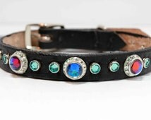 Bling Dog Collar with Swarovski Crystal, Blue Crystal Dog Collar on Leather