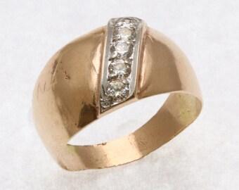 Vintage 14k rose white gold domed cigar band ring cubic zirconia Estate