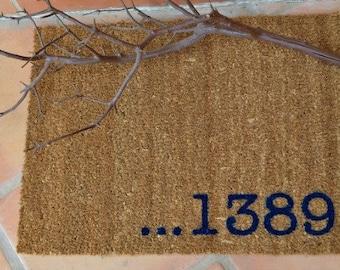 PERSONALIZED ADDRESS  Doormat ... Natural Coir Fiber Mat... 2 SIZES