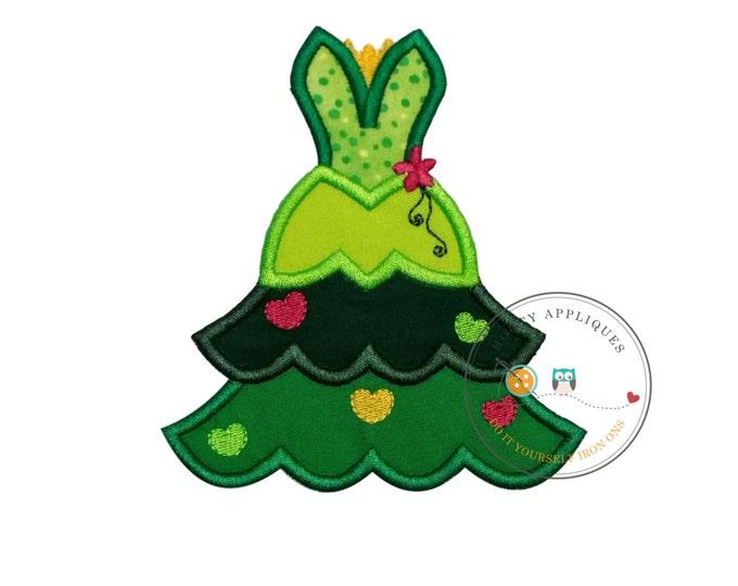frog princess iron on Christmas tree fabric applique, Machine embroidered no sew frog princess Christmas holiday patch, ready to ship, DIY