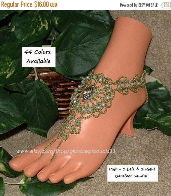 Sea Shell Barefoot Sandals Crochet Anklet Foot Jewelry Crochet Shell Beach Wedding Barefoot Shoes Seashore Accessories Gift