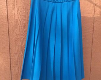 1970's Pleated Blue Skirt
