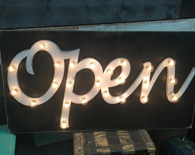 OPEN Sign Lighted Marquee Large Custom Vintage Inspired Wood Sign… Business Boutique Vendor Event
