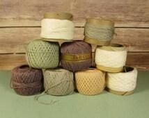 Darning Cotton Assortment - Vintage Tatting Crochet Thread Purple White Grey Green