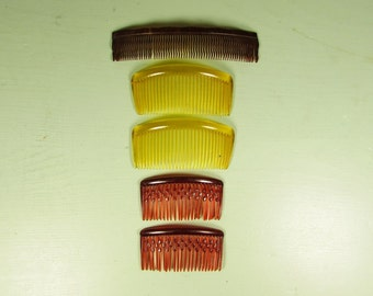 Brown Amber Yellow Hair Combs - Vintage Faux Tortoise Assorted Accessory Lot