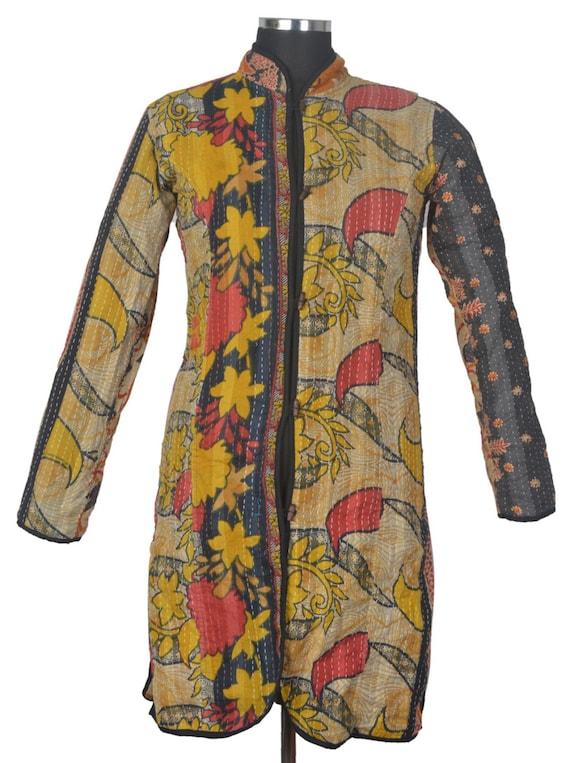 L vintage kantha long jacket reversible gudri by