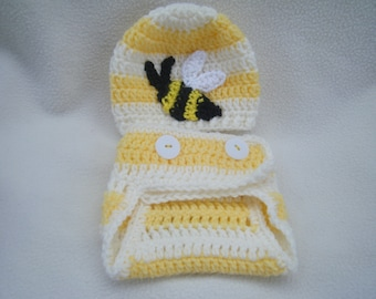 Crocheted Bumble Bee Hat and Diaper Cover Set- MADE TO ORDER - Handmade by Me