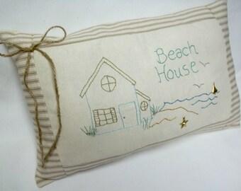 Beach House Embroidered Pillow Nautical Decor