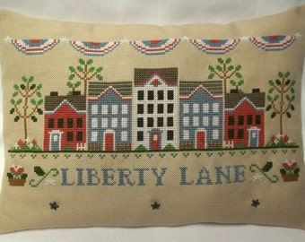 Patriotic Liberty Cross Stitch Mini Pillow  Fourth Of July Shelf Pillow