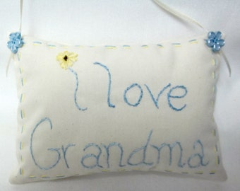 Grandma Hand Embroidered Hanging Pillow