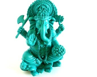 ganesha statues, asian home accents, meditation alter, buddha statue, emerald decor, ganesha art