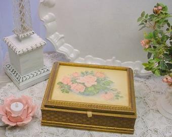 Vintage Keepsake Box Florals, mirror, gilt Cottage Romantic Shabby hic
