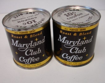 Vintage 2 Maryland Club Coffee Miniature Tins Full Salesman Sample Store Giveway Items 1960s 70s
