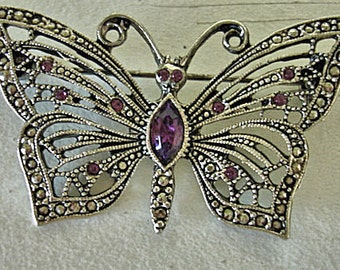 Vintage LIA Butterfly Ornate Pin With Purple Stones Women Jewelry