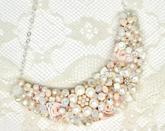 Blush Statement Necklace-Bridal Bib Necklace-Pale Pink Statement Bib-White Opal Necklace-Blush Floral necklace-Rhinestone and Pearl Necklace