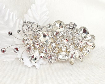 Rhinestone Hair Piece- Bridal Hair Accessory- Rhinestone Bridal Comb- Brass Boheme- Swarovski Crystal Bridal Clip- Wedding Hair Accessories