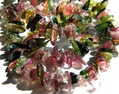 Multi Color Tourmaline 8MM Freeform Chip Rondells - 60 Stones - Gemstone Beads - Semiprecious Stone
