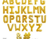 "16"" Inch Gold Foil Mylar Letter Balloons - Spell Any Phrase or Name - Ready to Ship"