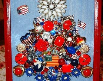 Vintage Jewelry Framed Christmas Tree ~ AMERICA Red White & Blue ~ Patriotic Jewelry Tree ~USA~Military~Veteran Heirloom Keepsake