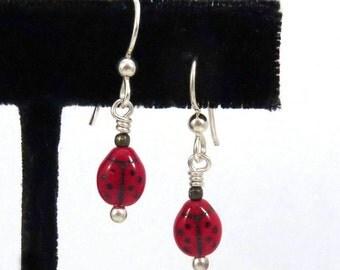 Retro Ladybug Earrings - Red Ladybug Drop Earring - Red Czech Glass Bug Dangle - Minimalist Bug Earring - Red and Black Beetle Earring